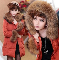 Free Shipping New 2013 Women Winter Coat Luxury Large Fur Collar Slim Medium-Long Thermal Down Coat Female LW81212