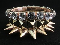free shipping hotsale 2013 new design brand multilayer spike bracelet rhinestone bracelet gold plated