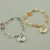hot sale brand heart pendant bracelet gold plated bracelets jewelry for women 2013 new design fashion free shipping