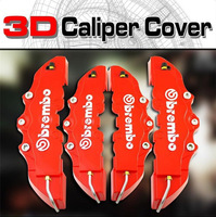 4pcs/set Red ABS 3D Front + Rear Car Auto Disc Brake Caliper Cover With Brembo Universal Kit Free Shipping