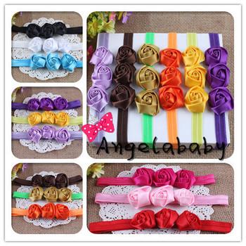 Shimmery Triple Mini Satin Ribbon Roses Flowers Headbands Baby Girls Flower Hair Bands 30pcs/lot