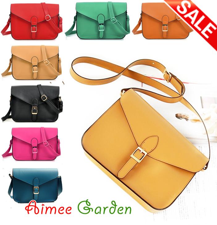 Hot Sale Classic Brief Style 2014 Women Messenger Bag Vintage PU Leather Envelope Shoulder Bag Wholesale 8 Color Free shipping(China (Mainland))