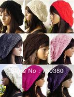 2015 Beret Braided Baggy Beanie Crochet Hat Ski Cap Women Lady  Fashion,multi-color
