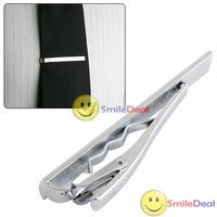 Free shipping: Men Metal Silver Tone Simple Necktie Tie Bar Clasp Clip wholesale
