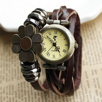 2013 New lady vintage lap weaving Epoxy sunflowers fashion Fox Genuine cow leather quartz watch for women dropshipping wholesale