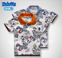 Wholesale 2014 New Fashion Kids Mickey Bird Pattern Print Tshirt Brand Child Causal Short Sleeve T-Shirt  Size 90-120 Free Ship