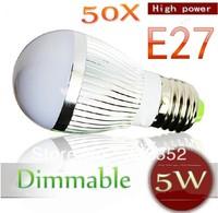 50pcs/lot FEDEX DHL FREE Dimmable Bubble Ball Bulb AC85-265V 5W E14 E27 B22 GU10 High power Globe light LED Light Bulb