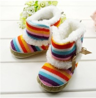 Retail baby Girl Toddler Infants Shoes Rainbow Boots Kids First Walkers Fashionable Winter Footwear  Free Shipping