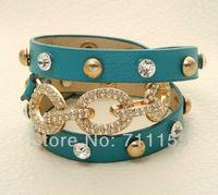 Bracelets & Bangles,Europe Triple Wrap  Leather Bracelet for Women 2013,Shamballa 3 Circle Charm Items 14K Gold Anchor Bracelet