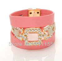 Pink Magnet Europe Bracelets & Bangles for Women 2013,Wrap Multilayer Gold Plated Genuine Leather Bracelet,Shamballa Bracelet