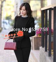 2014 Hot Sale!!!Fashion Fashion Wild round neck lace ladies fashion woolen short jacket windbreaker jacket Puff