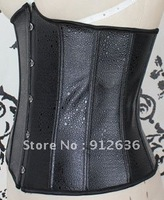 Free Shipping Plus Size Solid Black Fun Fur Overbust Sexy Corset Body Shaper For Women Wholesale And Retail