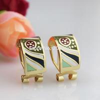 Newest 1cm Width Stripe Design Rose Gold Plated Enamel Jewelry Earring Pendant,1pcs