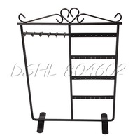 Black Earrings Necklaces 32-Hole Jewelry Organizer Display Holder Stand New