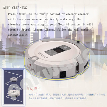 2014 4 IN 1 Self Recharge, Virtual Wall, UV Sterilize, Mopping, LCD Display Intelligent Low Noise Robot Vacum Cleaner