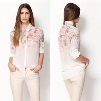 New Lapel Collar Button Flowers Chiffon Long Sleeve Women Shirt Tops Blouses