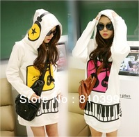 2013 New Women's Cute Lovely Music Note Print Long Cotton Hoodie Funny Pullover Outwears Coat Three Colors Freeshipping#H010