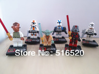 Star Wars Figures 6pcs/lot Yoda Sith Trooper Admiral Ackbar Building Blocks Sets Minifigure Legoland Model DIY Bricks Toys