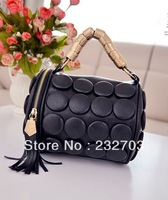 Free Shipping Women's Coin bag tassel shoulder bag diagonal fashion drum cylinder color buckle bag