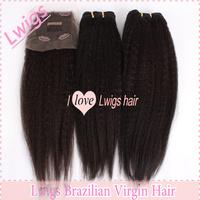 Brazilian virgin hair Italian Yaki 3.5*4 inch Lace Closure +Two pieces coarse yaki wefts hair for your best choice