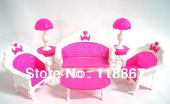 1set 6pcs Toys Doll Sofa Chair Couch Desk Lamp Furniture sitting room furniture set European big sofa doll furniture doll sofa
