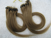 Free shipping micro loop hair extensions brazilian virgin hair straight 18inch 4#  0.5g/s 100s/lot wholesale