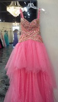 Fast Shipping Sexy Strapless Sweetheart Spaghetti Strap High Low Short Front Long Back Prom Dress 2013 New