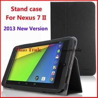 Wholesale Folio Leather Case Smart Cover Dock for 2013 Google Nexus 7 7.0 FHD 2nd Gen 20pcs/lot Free Shipping