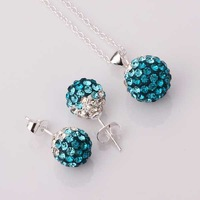 Free Shipping 925 Silver Jewelry Set Disco Ball Beads Cute Crystal Shamballa Sets Fasion Sterling Necklace Earring SBS053