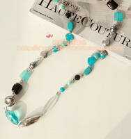 Accessories long design necklace turquoise necklace pearl tibetan silver national trend
