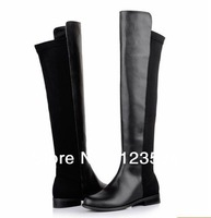 European Fashion 2013 Autumn And Winter, Women's Motorcycle Cowhide Shoes Over The Knee Flat Long Boots.