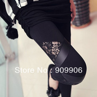 Fashion Leggins! Triangular lace PU leather Leggings Skinny Stretch Pants Free Shipping With Tracking Number