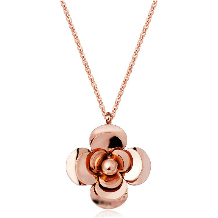 Hot 18K Rose Gold Plated Titanium Camellia Pendant Necklace Charm Jewelry Gift for Women Free shipping