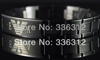 BA-11019   black  stainless steel bracelet mens ITALY design inlay words bangle chain hot sale gift