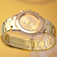 Women fashion Geneva famous brand rose golden quartz watch steel Luxury gift items free shipping drop shipping