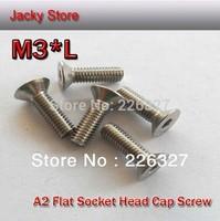 Free Shipping 200pcs/Lot DIN7991 M3*5 Stainless Steel 304 A2 Flat Head Hex Socket  Cap Screw