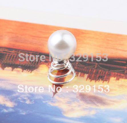Nice Bridal Imitated Pearl Hair Spiral Pin Pick Silver Plating 120pcs/Lot(China (Mainland))