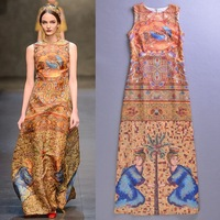 Free Shipping 2013 Runway Vintage Digital Printing Sleeveless Long Dress/ Evening Dress