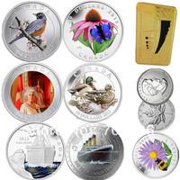 [Mix] Canada Dollar coin set ,9 piece deifferent  style maple leaf ,Titanic.Robin,Mallard Duck Silver/gold Clad coin bullion bar