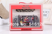 Newest Milan Style Golden Metal Chain Handbag Case For iphone 5 5s Love Heart Lady Soft TPU Purse Cover For iphone5s Free ship