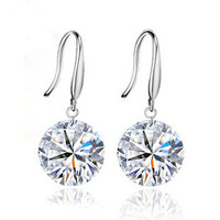 Wholesale 100% Real 925 Sterling Silver Platinum Plated  crystal Stud Earrings fine Jewelry SSE071