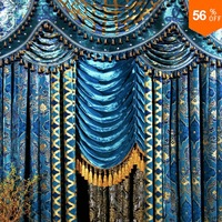 the blind Fashion living room curtain peacock blue flannelet bronzier curtain the finished curtain Blinds bead velvet curtains