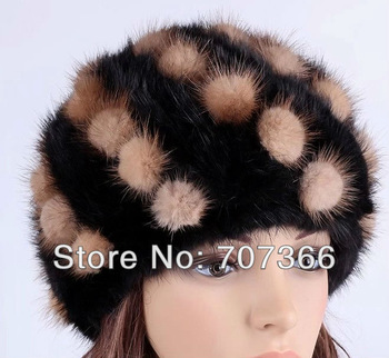Free shipping Knitted Woman and Lady's   mink Hat with pompom ball  Winter warm Fur Cap  Gifts  Hat Skullies and Beanies