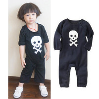 2013 New Baby Boys Jumpsuits Long Sleeve Baby Rompers Carters Baby Wear One-Piece Ramper Punk Print Skull Jumpsuit Free Shipping