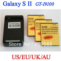 3 pcs 2450mah Gold Battery + US/EU/UK/AU Charger For Samsung Galaxy S2 SII i9100 GT-i9100 Bateria Batterij Accumulator cargador