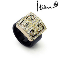 Italina R.A Genuine Austrian New Arrival Geometric Style Rings 18K Rose Gold Plated With Austrian Crystal Stellux #RA10894