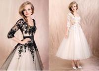 2015 New Free Shipping Shirred Black&White Three Quater Ball Dawn Applique Princess Tea Length Wedding Dress Vestido de Novia