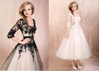 2015 New Lace Black Tea Length Wedding Dresses OT2014