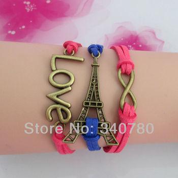 woven friendship bracelets Hot-selling fashion wrist bracelet infinity Eiffel Tower hand-knitted cord leather bracelet