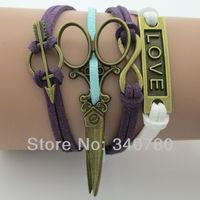 Vintage love, scissors,infinity,Arrow bronze charm bracelets South Korea soft materials velvet bracelets 5 pcs free shipping BS1